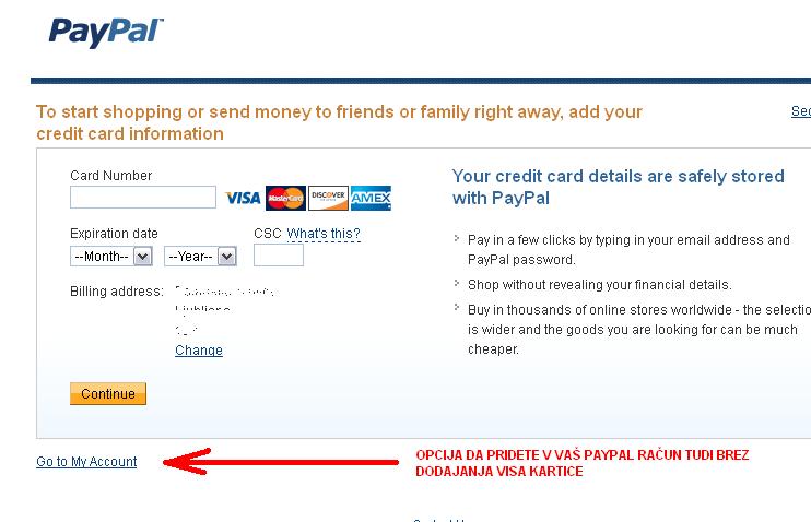 VISA kartica ni potrebna za paypal račun