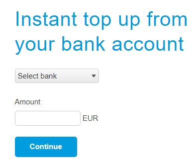 Obrazec za izbiro banke pri prenosu denarja z bančnega računa na PayPal račun
